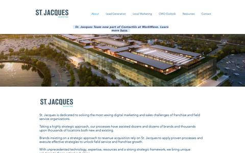 Screenshot of About Page stjacques.com - Franchise Marketing Specialists - captured Oct. 18, 2018