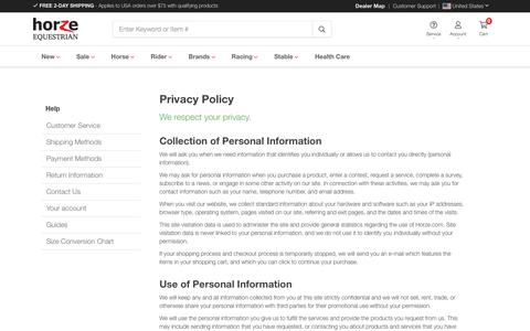 Screenshot of Privacy Page horze.com - Privacy Policy - captured Oct. 24, 2019