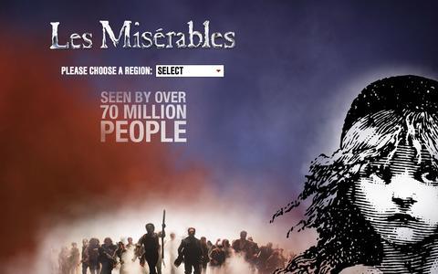 Screenshot of Home Page lesmis.com - Les Misérables | Welcome to the Official Website - captured Sept. 25, 2014