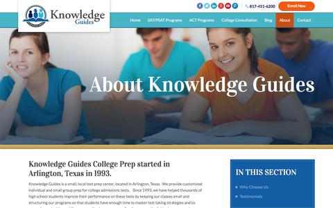Screenshot of About Page knowledgeguides.net - Tutoring for SAT and ACT | About Knowledge Guides - captured Aug. 9, 2016
