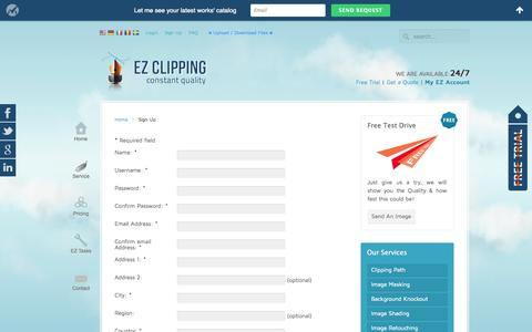 Screenshot of Signup Page ezclipping.com - Sign Up | EZ Clipping Registration - captured Sept. 27, 2014