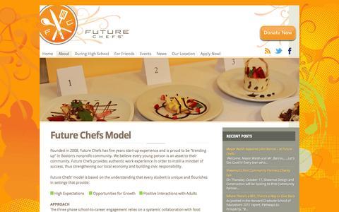Screenshot of About Page futurechefs.net - Future Chefs Model   Future Chefs - captured Sept. 30, 2014