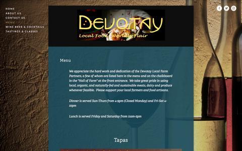 Screenshot of Menu Page devotay.net - Menu — Devotay - captured June 4, 2017