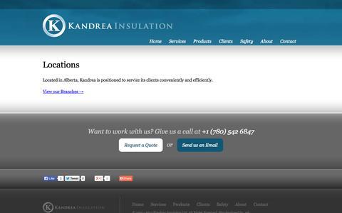 Screenshot of Locations Page kandrea.ca - Locations | Kandrea Insulation | Oilfield Services - captured Oct. 6, 2014