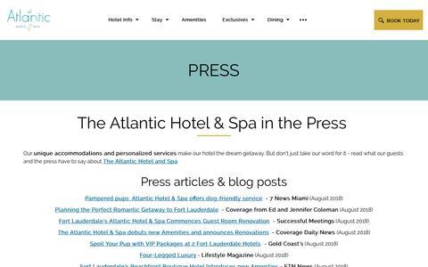 Screenshot of Press Page atlantichotelfl.com - Press | The Atlantic Hotel & Spa - captured Sept. 25, 2018