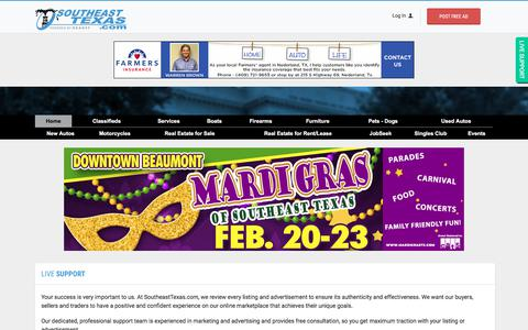 Screenshot of Support Page southeasttexas.com - SoutheastTexas.com Classified Ads - Buy, Sell, Trade, & More! | Beaumont TX, Houston TX, Lake Charles LA - captured Feb. 1, 2020