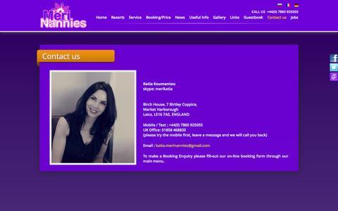 Screenshot of Contact Page merinannies.com - Meribel Childcare - captured Oct. 3, 2014
