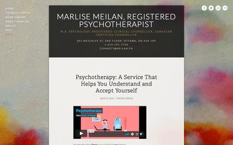 Screenshot of Press Page meilan.ca - News — Marlise Meilan, Registered Psychotherapist - captured Oct. 17, 2017