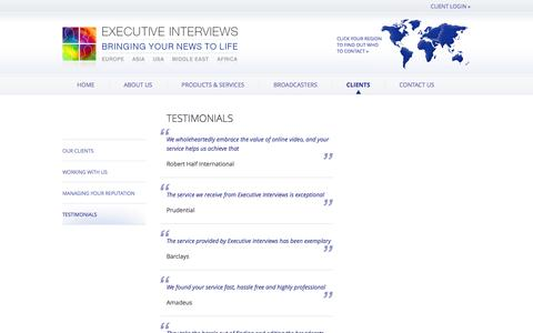 Screenshot of Testimonials Page executiveinterviews.biz - Testimonials –  Executive Interviews – Bringing your news to life - captured Sept. 23, 2014