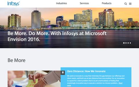 Screenshot of Home Page infosys.com - Infosys - Business Technology Consulting | IT Services | Enterprise Solutions - captured March 31, 2016