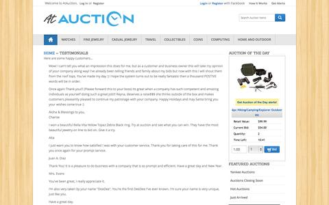 Screenshot of Testimonials Page atauction.com - Live Online Auctions - $1 Start Bid | Jewelry, Watches, Sports Memorabilia and More | AtAuction.com - captured Sept. 19, 2014