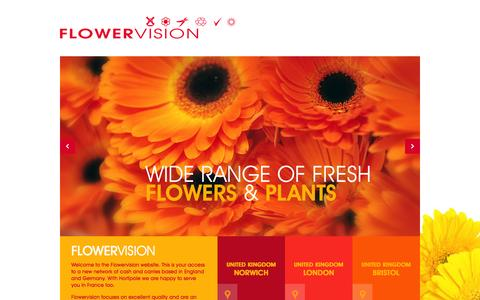 Screenshot of Home Page flowervisionweb.com - Flowervision, a wide range of fresh flowers and plants - captured Feb. 10, 2016