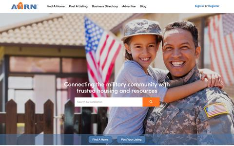 Screenshot of Home Page ahrn.com - AHRN.com | Connecting the military community with housing - captured Sept. 27, 2018