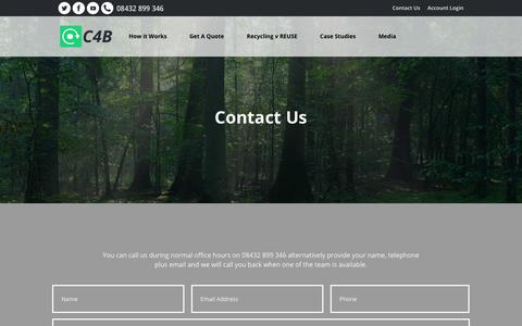 Screenshot of Contact Page cash4boxes.co.uk - Contact Us - CASH4 BOXES - captured July 16, 2018
