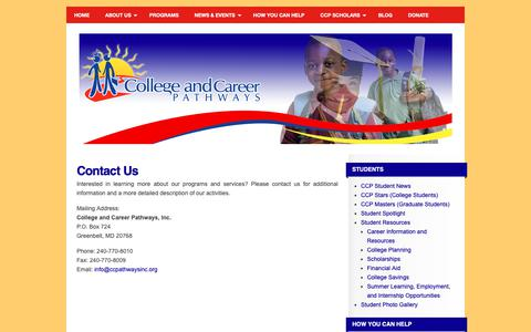 Screenshot of Contact Page collegeandcareerpathways.org - Contact Us | College and Career Pathways - captured Sept. 28, 2018