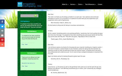 Screenshot of Testimonials Page rrirrigation.com - RR Irrigation  » Testimonials - captured Sept. 23, 2018