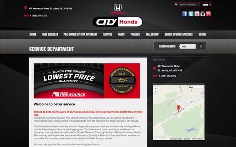 Screenshot of Services Page cityhonda.com - City Honda's service options | City Honda - captured Sept. 29, 2014