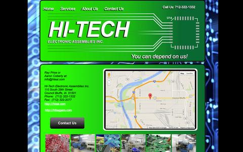 Screenshot of Contact Page hteai.com - HI-Tech Electronics Contact page - captured Oct. 1, 2014