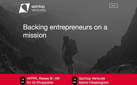 Screenshot of Home Page spintopventures.com - Spintop   - captured Dec. 11, 2016