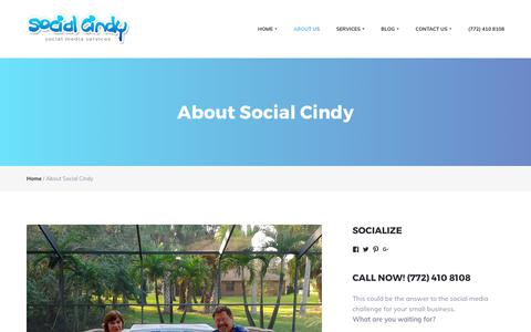 Screenshot of About Page webdesignvero.com - About Social Cindy | Website Design & Social Media Services | Vero Beach, FL - captured Oct. 22, 2017