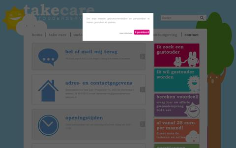 Screenshot of Contact Page gastouderservice-takecare.nl - contact | Gastouderservice Take Care - captured Sept. 29, 2014