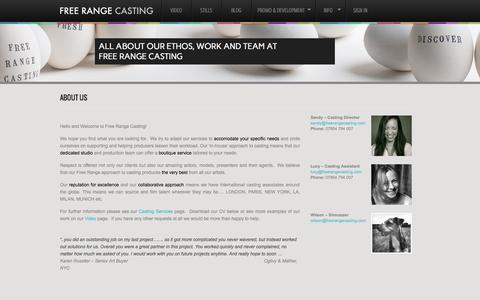 Screenshot of About Page freerangecasting.com - About Us | Free Range Casting - captured Sept. 30, 2014