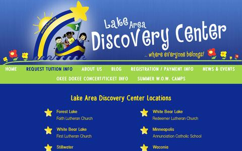 Screenshot of Locations Page ladcfamilies.org - Lake Area Discovery Center Locations - Lake Area Discovery Center - captured Jan. 24, 2016