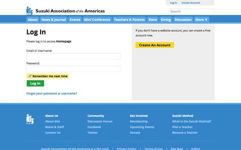 Screenshot of Login Page suzukiassociation.org - Log In | Suzuki Association of the Americas - captured Nov. 4, 2014
