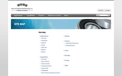 Screenshot of Site Map Page nhbb.com - Site Map by New Hampshire Ball Bearings - captured Oct. 26, 2014