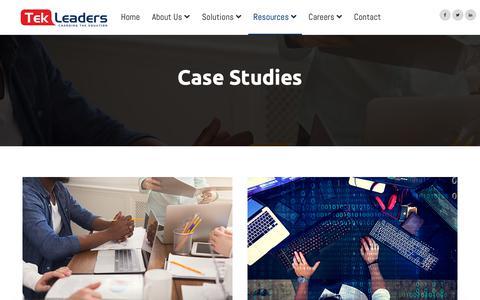 Screenshot of Case Studies Page tekleaders.com - Tek Leaders | Data Analytics, BI & Managed Services - captured Nov. 15, 2018