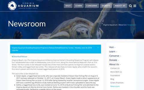 Screenshot of Press Page virginiaaquarium.com - Newsroom ~ Virginia Aquarium & Marine Science Center - captured July 13, 2018