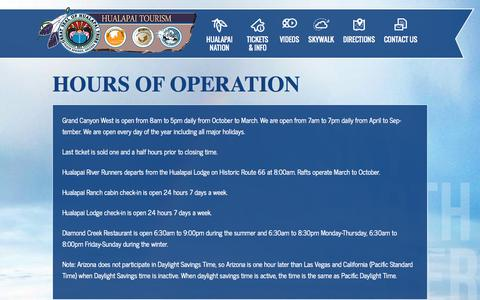 Screenshot of Hours Page hualapaitourism.com - Hours of Operation | Grand Canyon West - captured Nov. 3, 2014