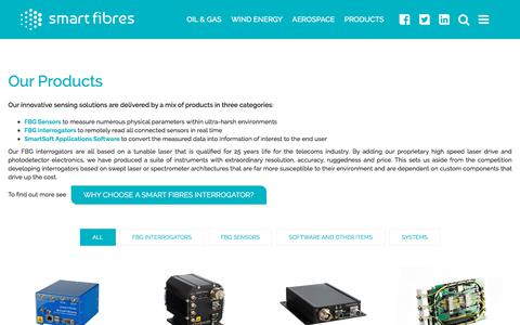 Screenshot of Products Page smartfibres.com - Our Products - Smart Fibres - captured Nov. 2, 2017