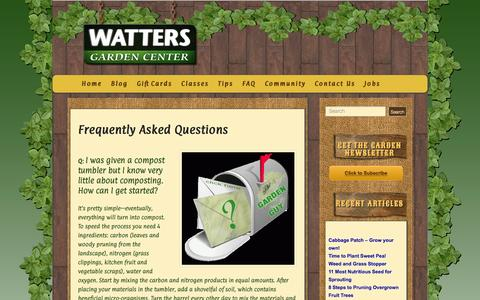 Screenshot of FAQ Page wattersgardencenter.com - Frequently Asked Questions - Watters Garden Center - captured Feb. 24, 2016