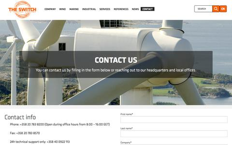 Screenshot of Contact Page theswitch.com - Contact us - captured Aug. 11, 2015