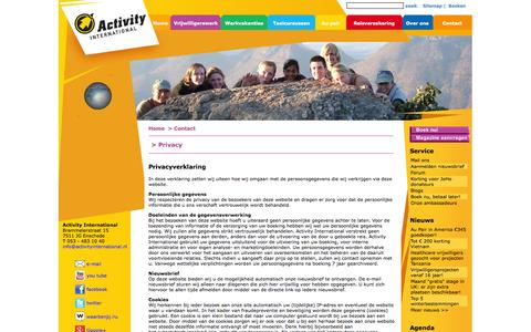 Screenshot of Privacy Page activityinternational.nl - Werken en reizen in het buitenland met Activity International - werkvakantie, vrijwilligerswerk, taalcursus, au pair - captured Sept. 30, 2014
