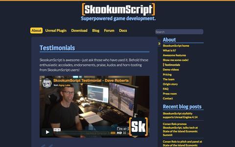 Screenshot of Testimonials Page skookumscript.com - Testimonials - SkookumScript - captured Nov. 20, 2016