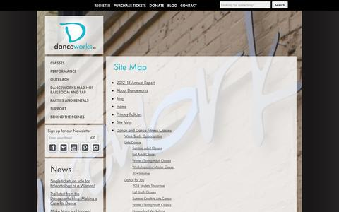 Screenshot of Site Map Page danceworksmke.org - Site Map | find Latin and Hip Hop dance in Milwaukee | Danceworks - captured Oct. 5, 2014