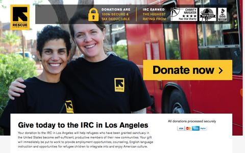 Screenshot of Landing Page rescue.org - Give today to the IRC in Los Angeles | International Rescue Committee - captured Dec. 12, 2016
