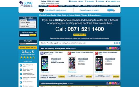 Screenshot of Home Page e2save.com - Mobile Phones - Cheap Contract Phones, Mobile Deals & SIMs - e2save - captured Sept. 22, 2014