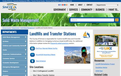 Screenshot of Locations Page simcoe.ca - Landfills and Transfer Stations              -              Solid Waste Management - captured Sept. 24, 2018