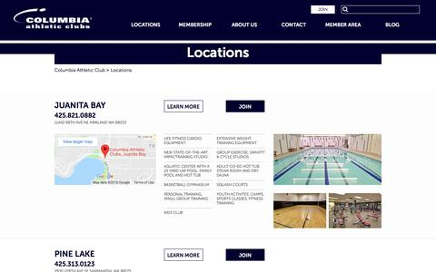 Screenshot of Locations Page columbiaathletic.com - Locations - Columbia Athletic Clubs - captured Jan. 25, 2018