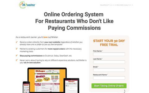 Screenshot of Landing Page 247waiter.com - Online  Ordering System  For Restaurants - captured July 9, 2017