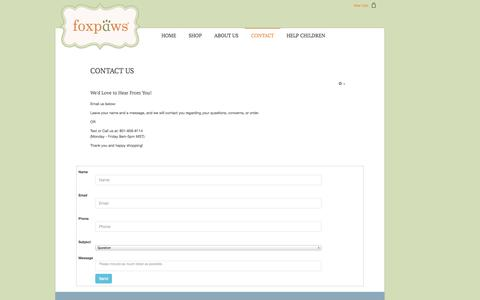 Screenshot of Support Page foxpawsshoes.com - Contact - captured Nov. 3, 2014