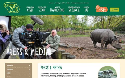 Screenshot of Press Page chesterzoo.org - Press & Media | Chester Zoo - captured July 9, 2018
