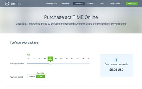 Screenshot of Pricing Page actitime.com - Online Timesheet Software Pricing - captured July 19, 2019