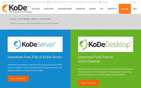 Screenshot of Trial Page kodesoftware.com - KoDe Software Trial Download - Kode Software - captured Feb. 12, 2016
