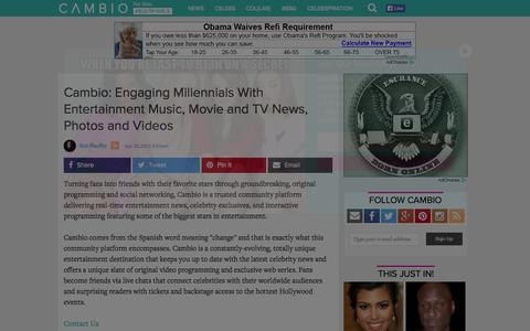 Screenshot of About Page cambio.com - Cambio: Engaging Millennials With Entertainment Music, Movie and TV News, Photos and Videos | Cambio - captured Oct. 21, 2015