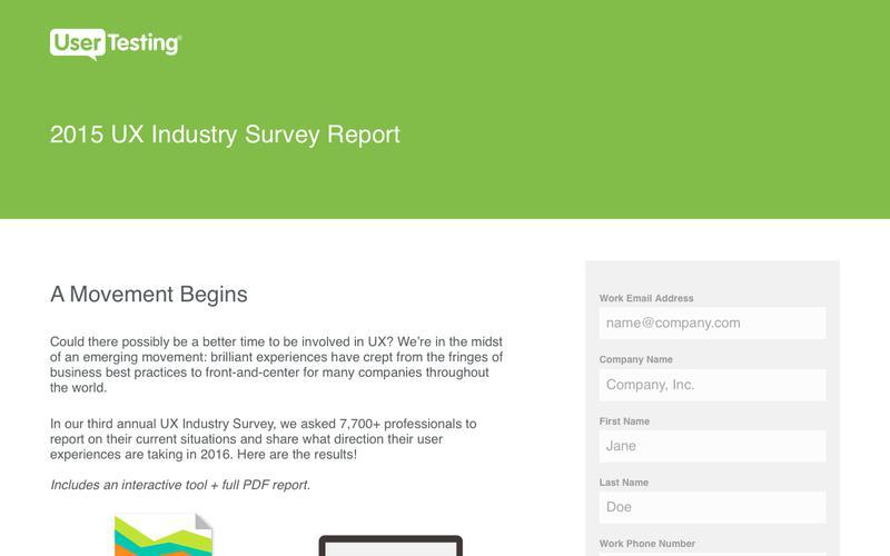 2015 UX Industry Survey Report | UserTesting