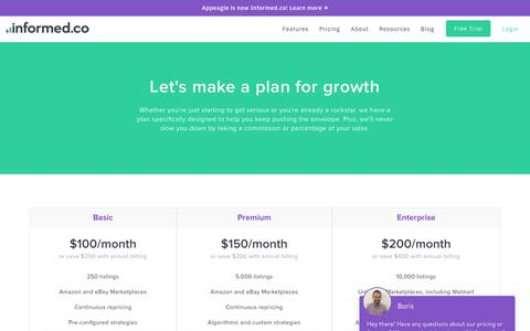 Screenshot of Pricing Page informed.co - Informed.co | Intelligent Repricing & Seller Analytics | Pick Your Plan - captured March 11, 2018